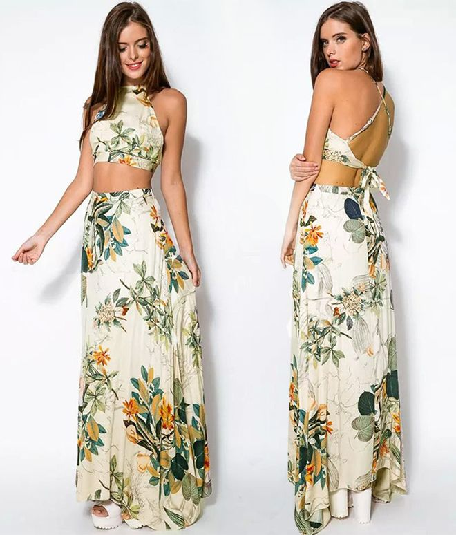Luxuoso conjunto de Saia Longa com Cropped Top print floral Natureza