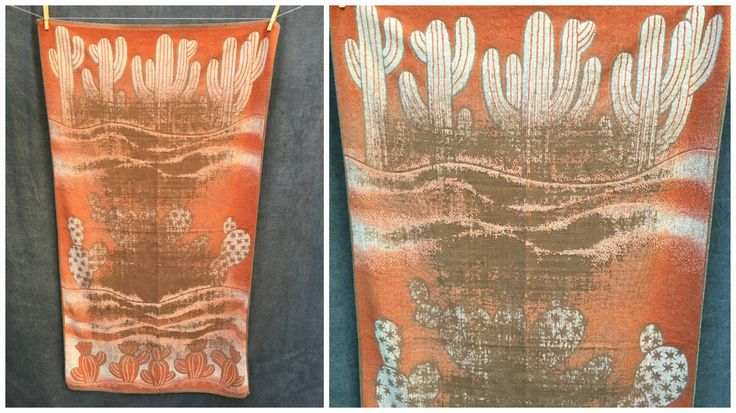 70's Southwestern Cactus Cacti Desert Succulent Art Beach Towel by ElkHugsVintage on Etsy