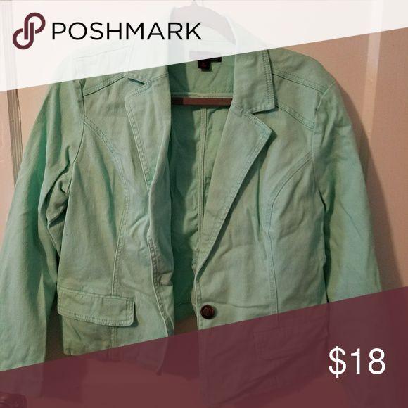 Denim blazer Mint green denim blazer, lightly worn, smoke free home Jackets & Coats Blazers