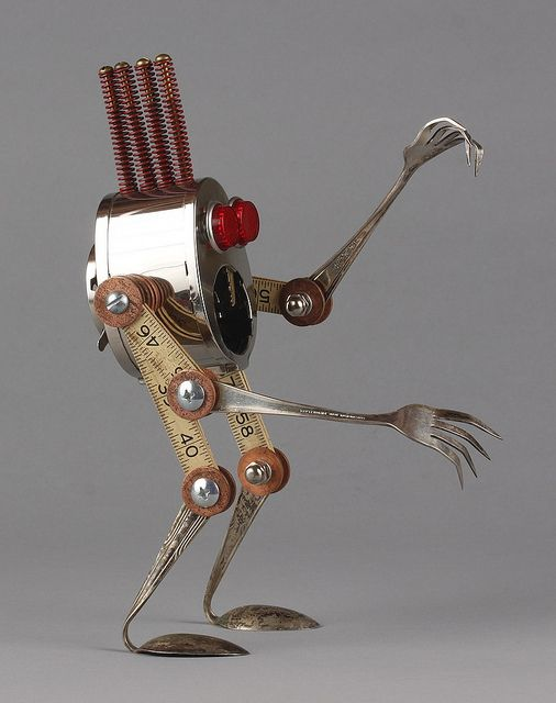 Creepy - found object robot by adopt-a-bot Brian Marshall