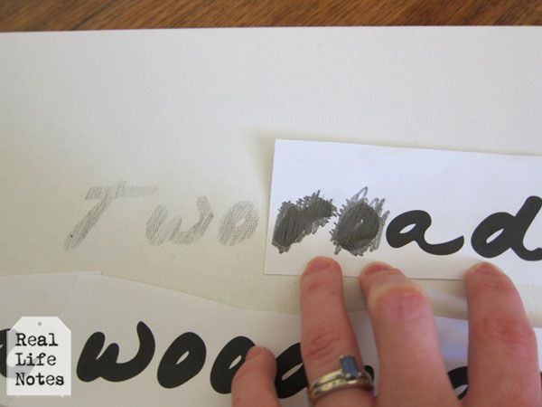 Transfering words to canvas for painting - just outline the backside of the printed image & rub onto canvas.....brilliant!!!