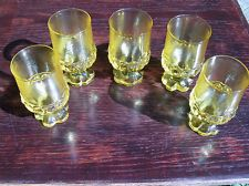 "5 Tiffin Franciscan Madeira Cornsilk Yellow Water Goblets Glasses; 5.5"" Tall"