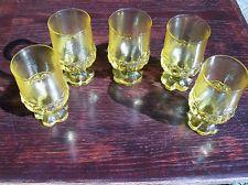 "5 Tiffin Franciscan Madeira Cornsilk Yellow Water Goblets Glasses; 5.5"" Tall"