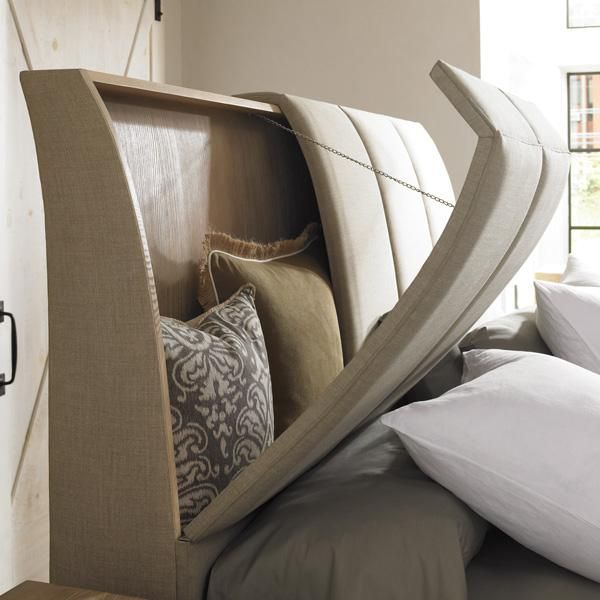 This is brilliant! We always toss our pillows on the floor - would be so nice not to do that! Headboard with storage for throw pillows His and Hers : Naturally Casual : Beds : cas-kinbed-004 | Caracole Furniture