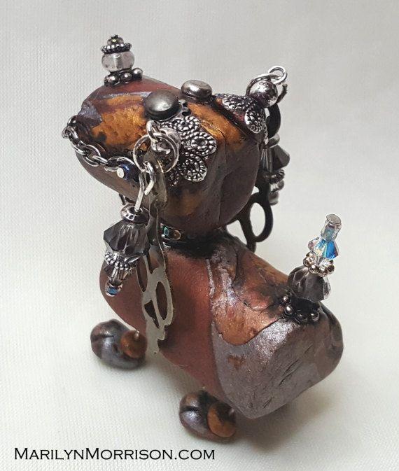 Mixed Media Polymer Clay Steampunk Robot Dog by NyliramClayFun