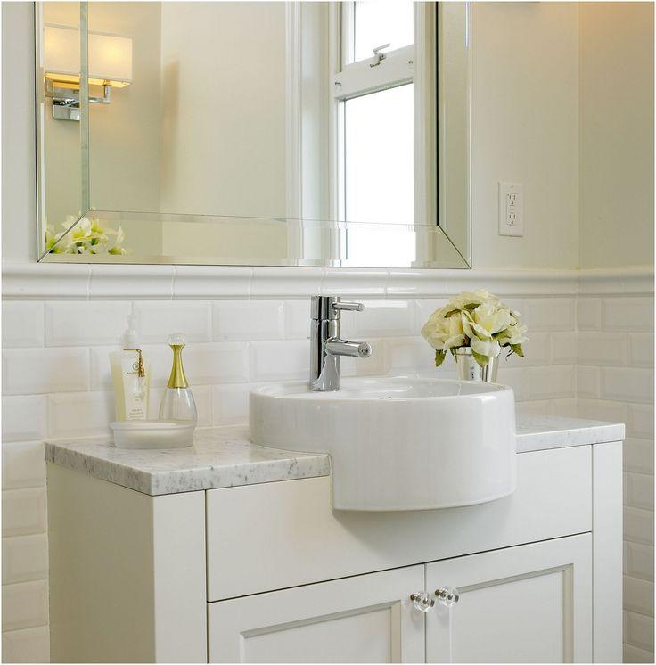 Wainscoting Bathroom: Subway Tile 42 Tall Wainscoting With Bullnose Top Rail