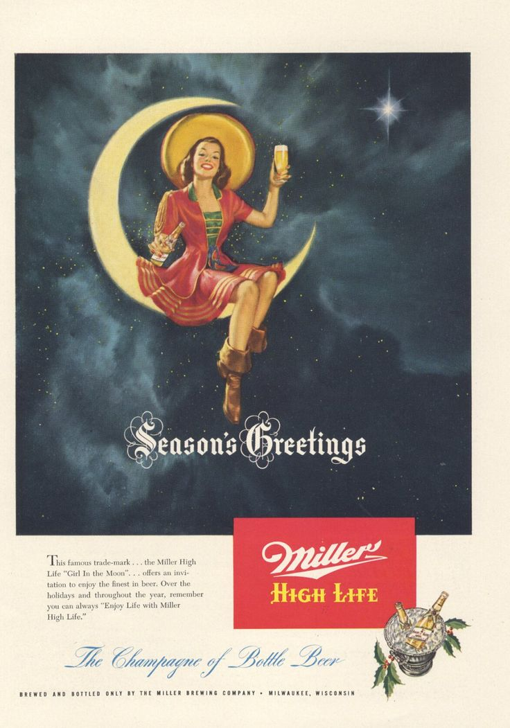 1948+Ad+Miller+High+Life+Beer+Girl+in+Moon+Wishes+Merry+Christmas++++12181948NY