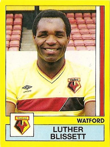 Luther Blissett (Watford FC, 1975–1983, 246 apps, 95 goals + 1984–1988, 127 apps, 44 goals + 1991–1993, 42 apps, 9 goals), 1987.