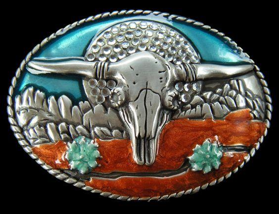 Big Cool Western Belt Buckle Epoxy Inlay Color Longhorn