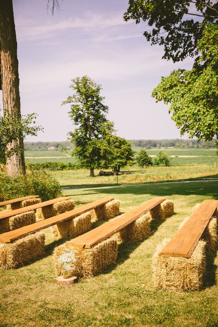 Hales of bay for ceremony guests to sit on