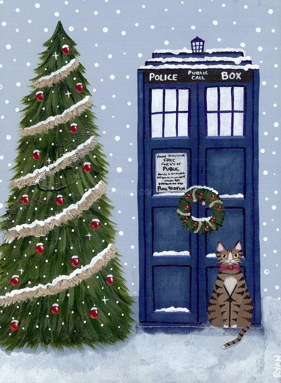 Christmas TARDIS Doctor Cat Original Folk Art by KilkennycatArt