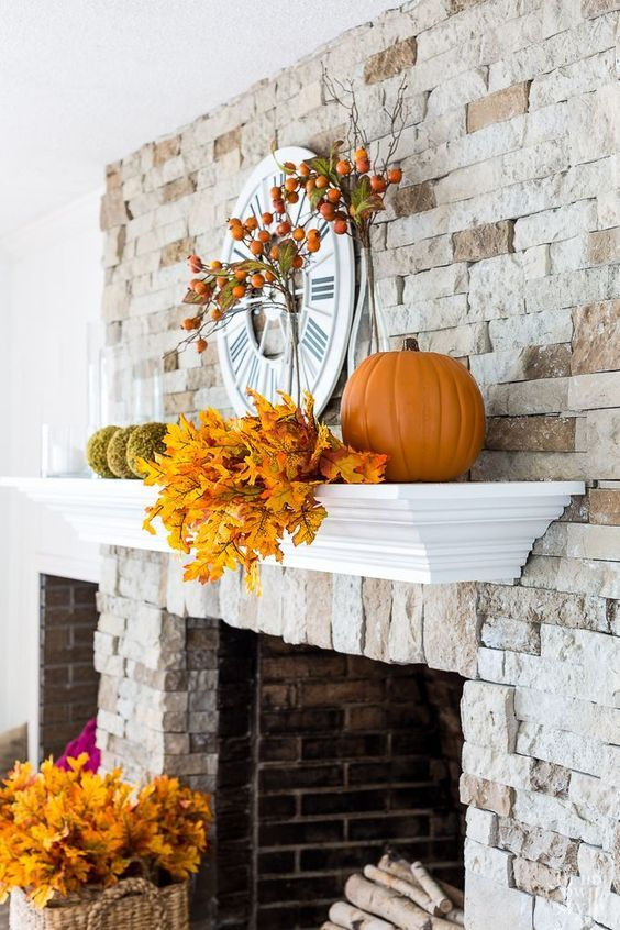 Stone fireplace mantel decorating ideas for fall Fall Decorating