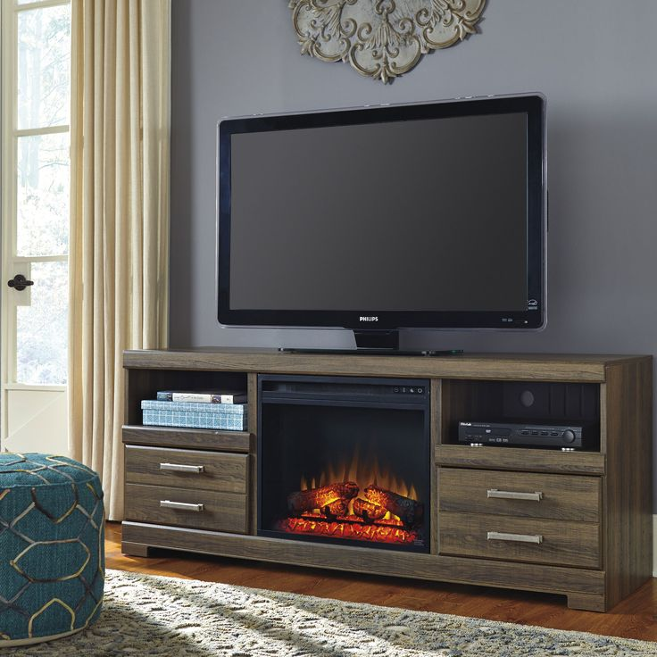 Frantin Rustic Look Large TV Stand w/ Fireplace Insert by Signature Design by Ashley