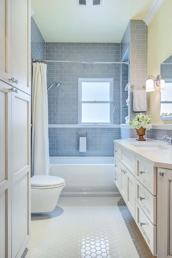 Gorgeous kohler bancroft in Bathroom Transitional with Gray Subway Tile next to Tile Around Window alongside Colored Subway Tile and Subway Tile Shower