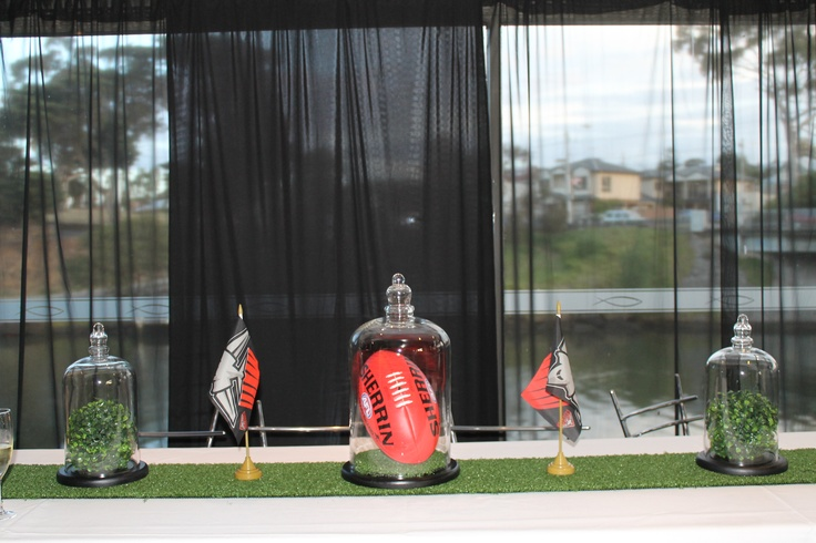 Table setting of My AFL and Essendon Bombers Themed 21st Birthday Party. Designed by Julia Callegari with support from Theme from JAK.