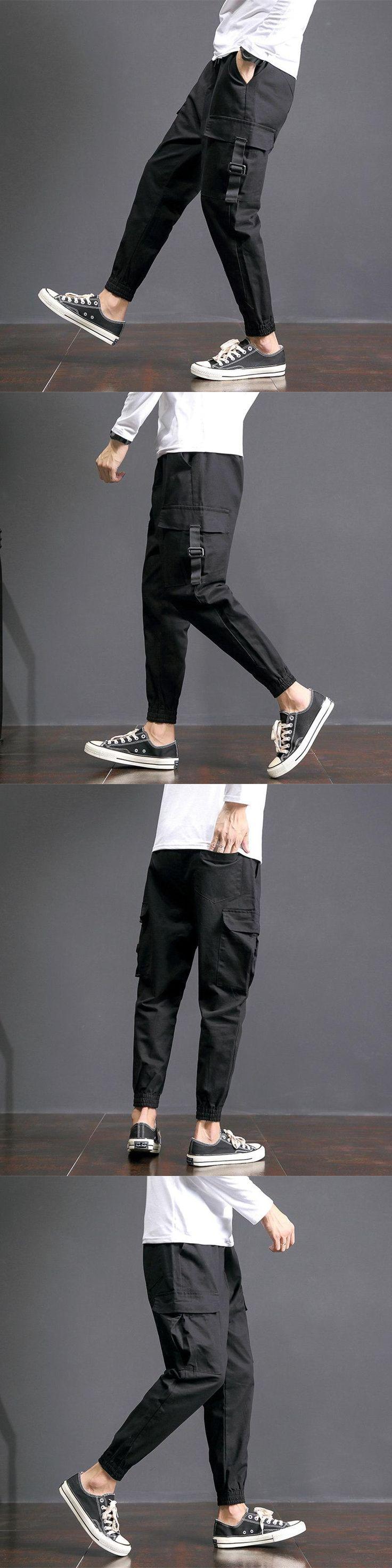 2017 Autumn Japanese Pocket Leisure Mens Trousers Fashion Casual Pants Male Overalls Cotton Jacket Long Pantalon Hombre Chinos