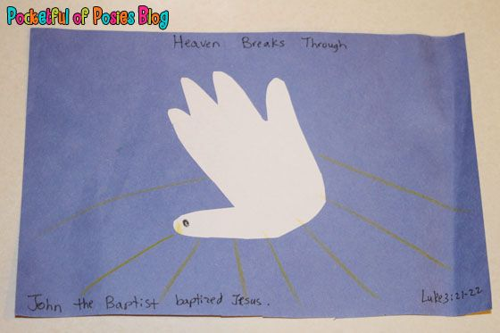 This simple handprint dove craft is a cute way to help kids remember the story of Jesus' Baptism.
