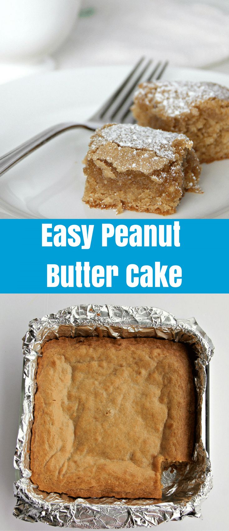 A tender, moist, easy peanut butter cake made in one bowl and ready in about forty-five minutes. This peanut butter cake is a great after school snack. via @insouthernktchn