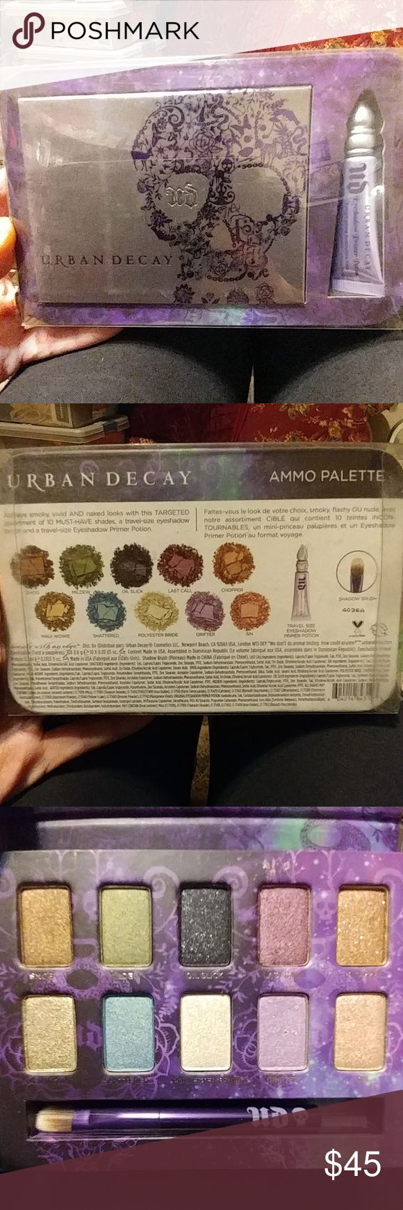 NIB Urban Decay Ammo Palette w/ Primer Potion Original! Collectors!! New in Original Retail Packaging! Untouched! -10 Shadows & Shadow Brush. Palette w/Mirror & Original Primer Potion. I have collected UD for years.. Finally letting go of my collection! See my listings for other Urban Decay Original collectable palettes. Urban Decay Makeup Eyeshadow