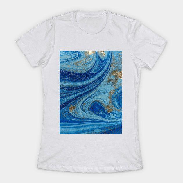 Navy Blue Watercolor Gold Art Blue Watercolor T Shirt