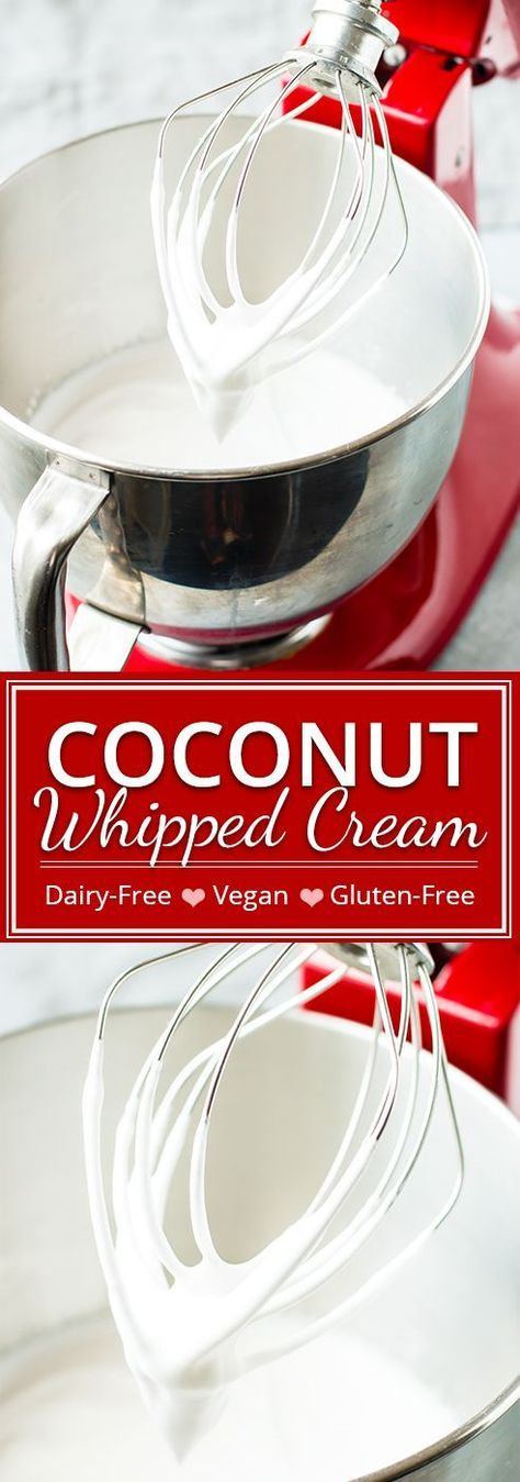 How to make coconut whipped cream at home! With only a few ingredients, you can have this super easy, vegan and dairy-free coconut whipped cream ready to dollop on your favorite pie in less than 5 minutes.