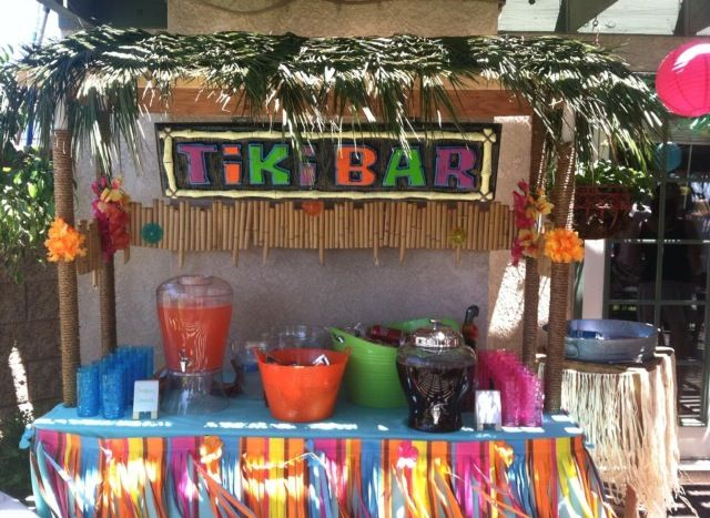 Homemade tiki bar for a tropical themed party parties for Beach bar decorating ideas