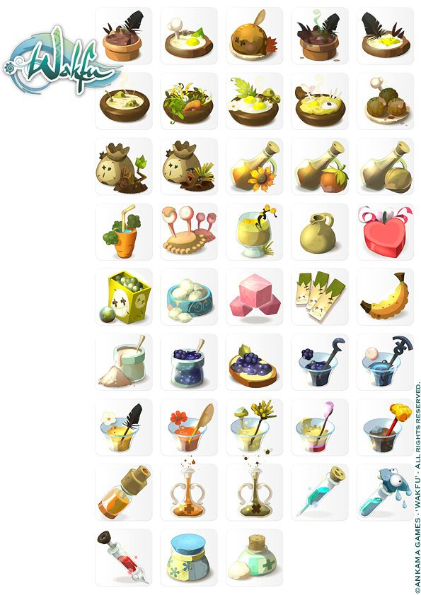 Wakfu MMORPG. Drink and food icons join us http://pinterest.com/koztar/