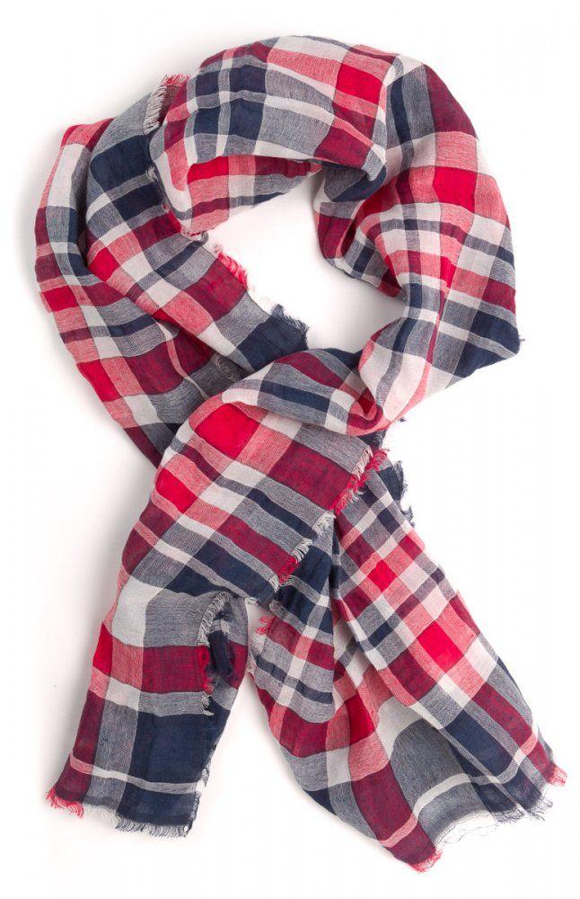 Gant vícebarevný pánský šátek 75% len, roztřepené konce