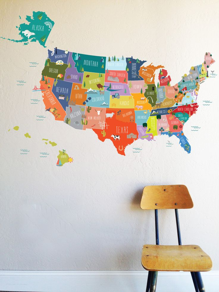 """A fun and informative way to help the kiddos become familiar with the map of the USA. It now includes the capitols of each state! 1 LARGE USA Country Decal - 46""""w x 31""""h Alaska - 14""""w x 10""""h Hawaii -"""