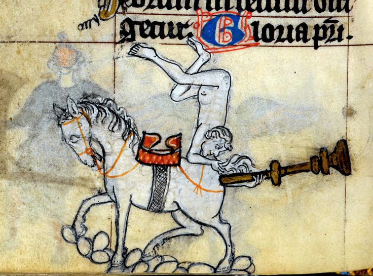butt trumpeting horse (above: 'Gloria Patri' - 'Glory be to the Father') 'The Maastricht Hours', Liège 14th century. British Library, Stowe 17, fol. 153v