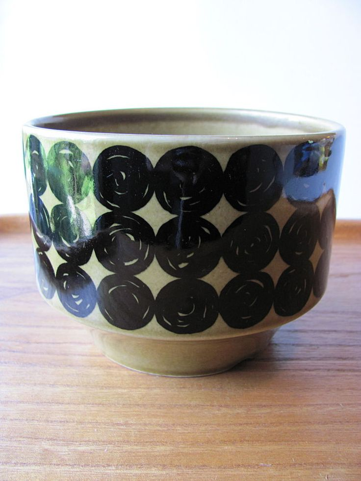 Arabia Vintage Ochre Black  Ceramic Planter MCM Richard Lindh  #Arabia