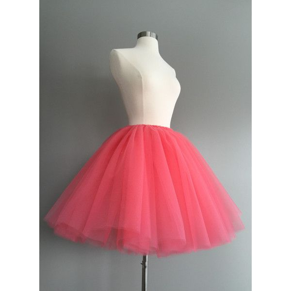 Ready to Ship Tulle Skirt Adult Tutu Coral Tutu Coral Tulle Skirt ($60) ❤ liked on Polyvore featuring skirts, silver, women's clothing, high waisted tutu, knee length tulle skirt, coral skirt, high-waist skirt and red skirt
