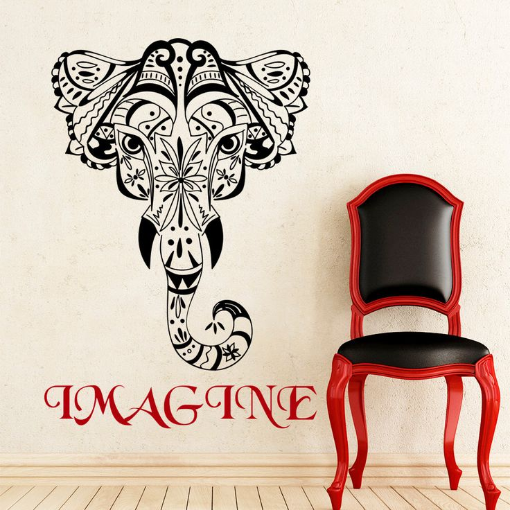 Elephant wall decals tribal indian pattern om ganesh design imagine sign yoga studio decorations art boho