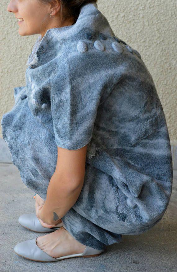 Felted dress Nuno felt dress Batik Light gray White
