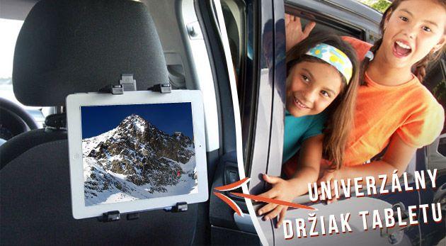 Nastaviteľný držiak tabletu do auta s uchytením na opierku hlavy – príjemnejšia cesta autom pre sediacich vzadu.