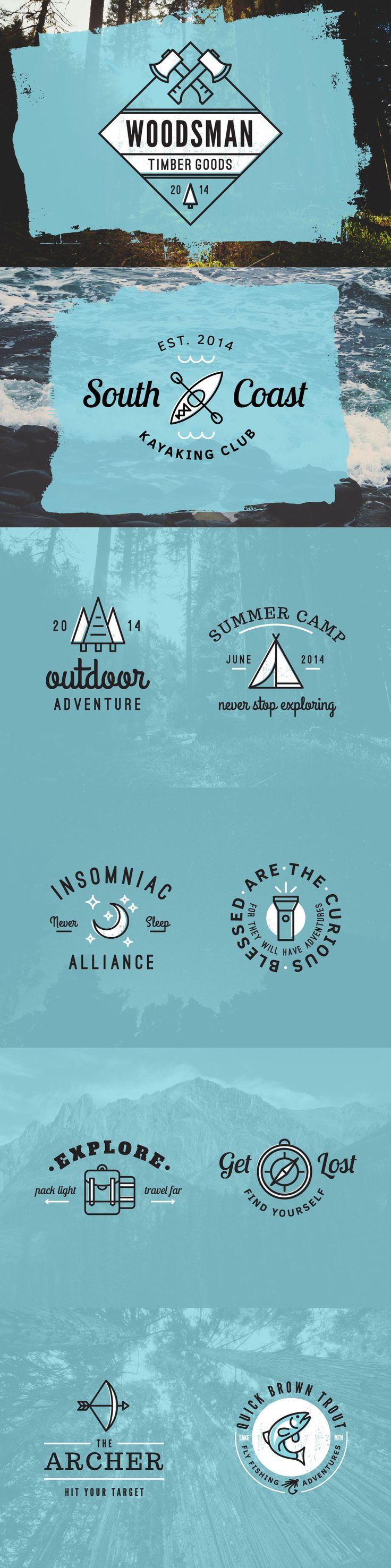 10 Outdoor Adventure Logos Template AI, PSD