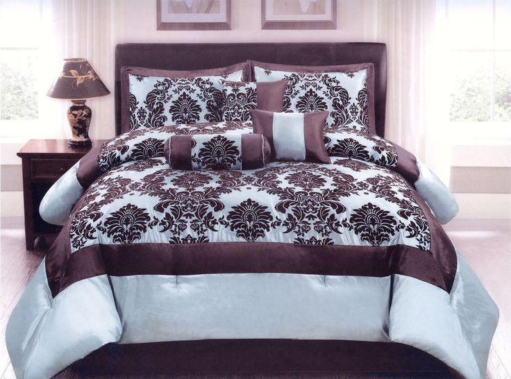 7 Pc Flocking Floral Comforter Set Queen Bed In A Bag
