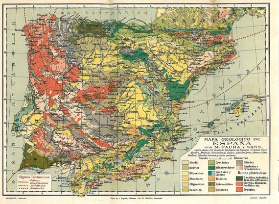 Best Antique Geology Print Images On Pinterest Geology - Portugal geology map