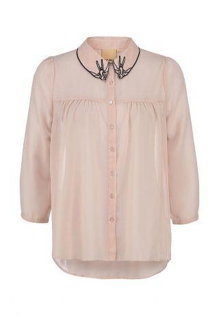 Женская блуза от Ichi розового цвета. Модель слегка приталенного кроя выполнена из легкого полупрозрачного шифона. Детали: отложной воротник декорирован черной вышивкой, застежка на ряд пуговиц, узкие манжеты. http://j.mp/1pg2LXp