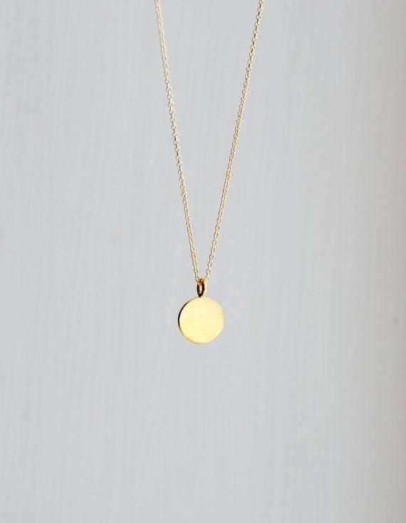 Gold Pendant Necklace Engravable Small Round Gold Vermeil Disk Pendant Gift For Her Delicate Dainty Do Gold Pendant Necklace Gold Charm Necklace Gold Pendant