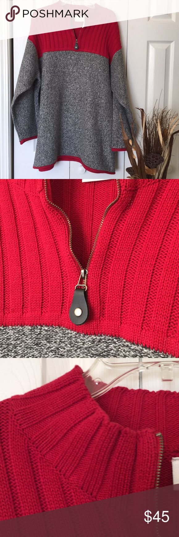 """NWT heavy sweater This is a pretty heavy piece. Heather gray bodice with red cable chest and top of back. Red trim on long sleeve ends and bottom hemline. Neckline zipper with accent zipper pull. Plenty of stretch. Pit to pit approx 27 1/2"""". Length approx 32"""" Liz Claiborne Sweaters Cowl & Turtlenecks"""