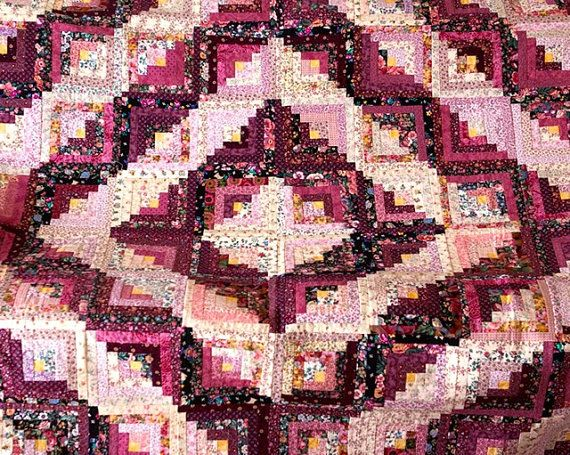 Log Cabin Quilt Pattern Free Queen Size : Log Cabin Quilt Queen Size Pink Plum by chrisamericanquilts My quilts Pinterest Pink, Log ...
