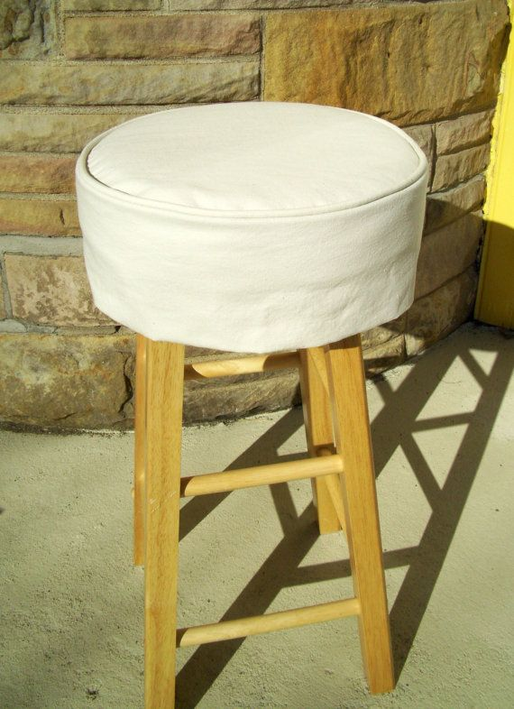Ivory Barstool Slipcover Cushion 13 Inch Round By