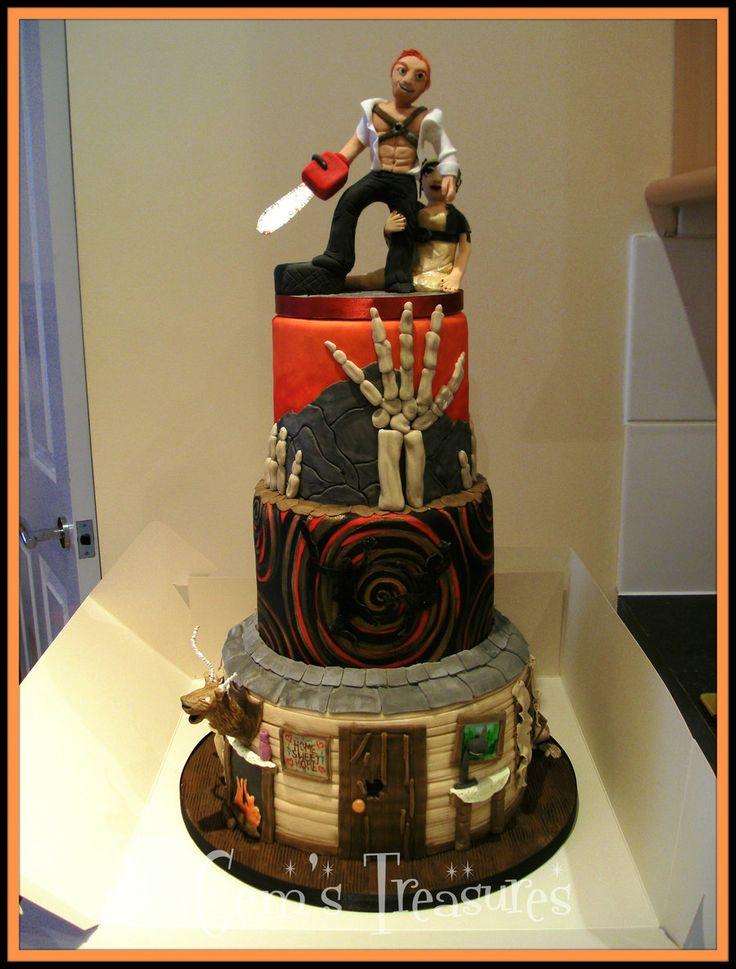The Evil Dead Halloween Wedding Cake by ~gertygetsgangster on deviantART