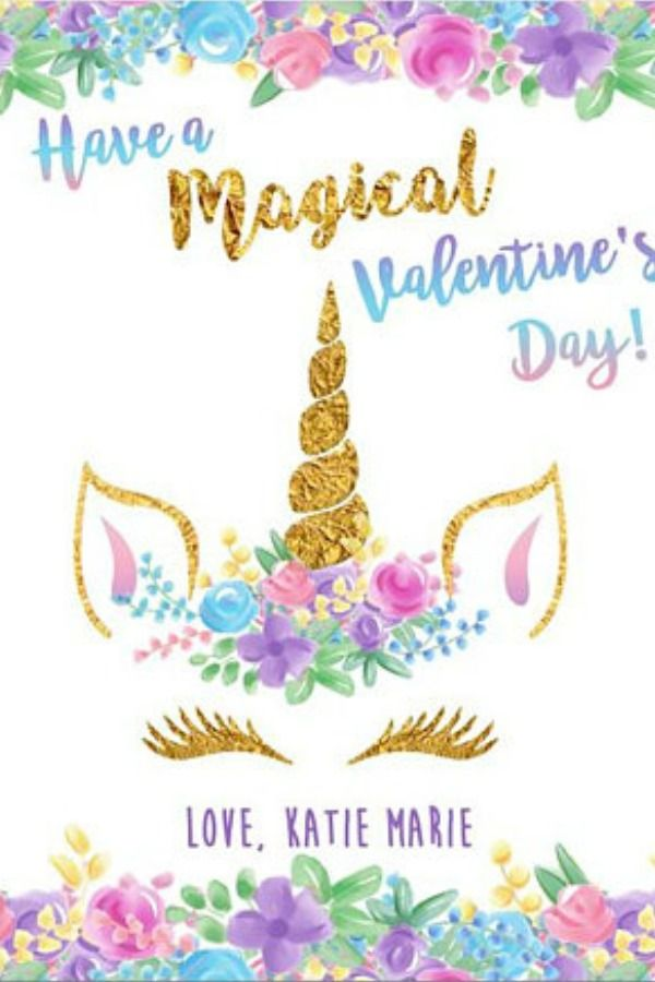 Unicorn Valentine Cards Personalize With Your Child S Name