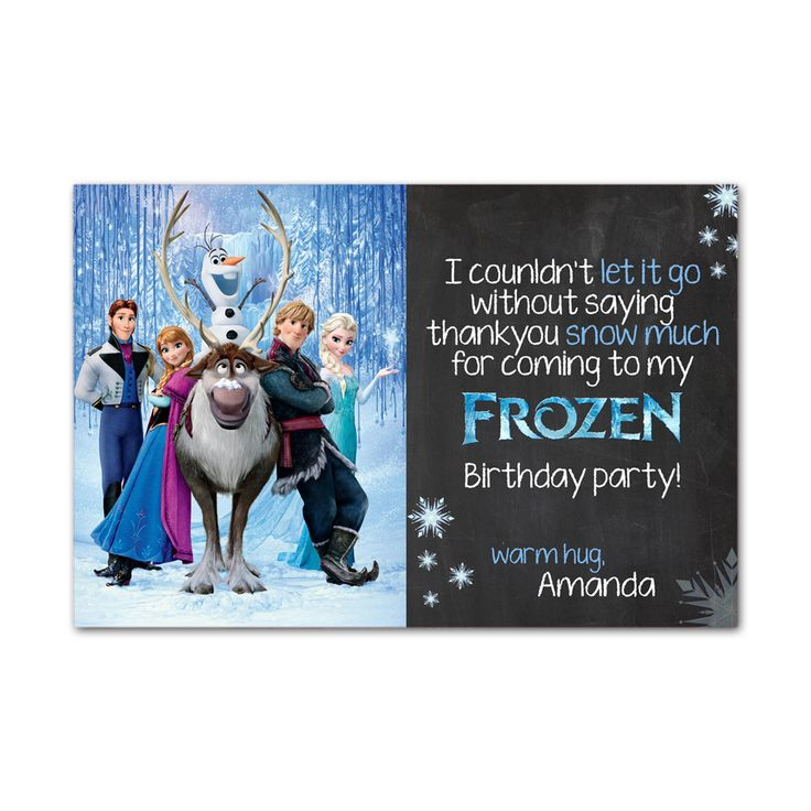 Frozen Family Disney Celebration Thankyou Kids Birthday Invitation Party Design