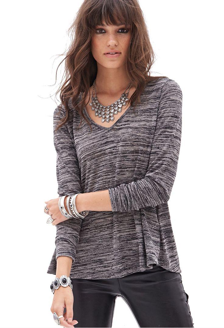Slub Knit V-Neck Sweater - BEST SELLERS - 2055879590 - Forever 21 UK
