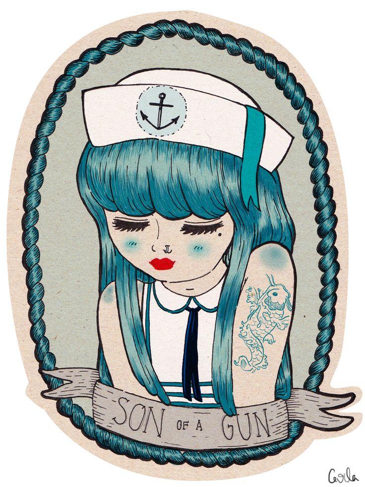 .: Anchors Aweigh, Girls, Guns, Sailors Moon, Music Therapy, Sons, Illustration, Art, A Tattoo'S