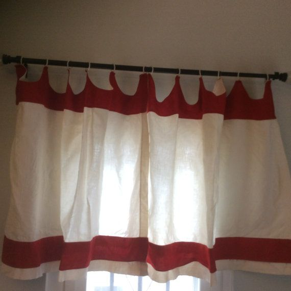 1940s Vintage Curtains For Your Retro Kitchen! White With Red Solid Trim  White Plastic Rings