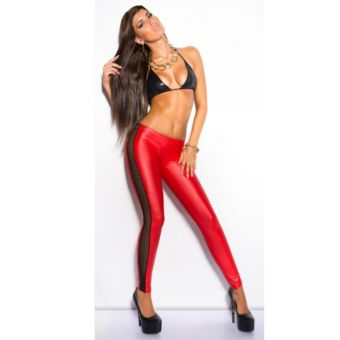 Leggings rouge simili cuir dentelle - bestyle29.com